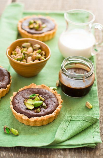 Chocolate and pistachio tarts