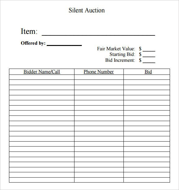 Silent Auction Bid Template - 40+ Silent Auction Bid Sheet Templates