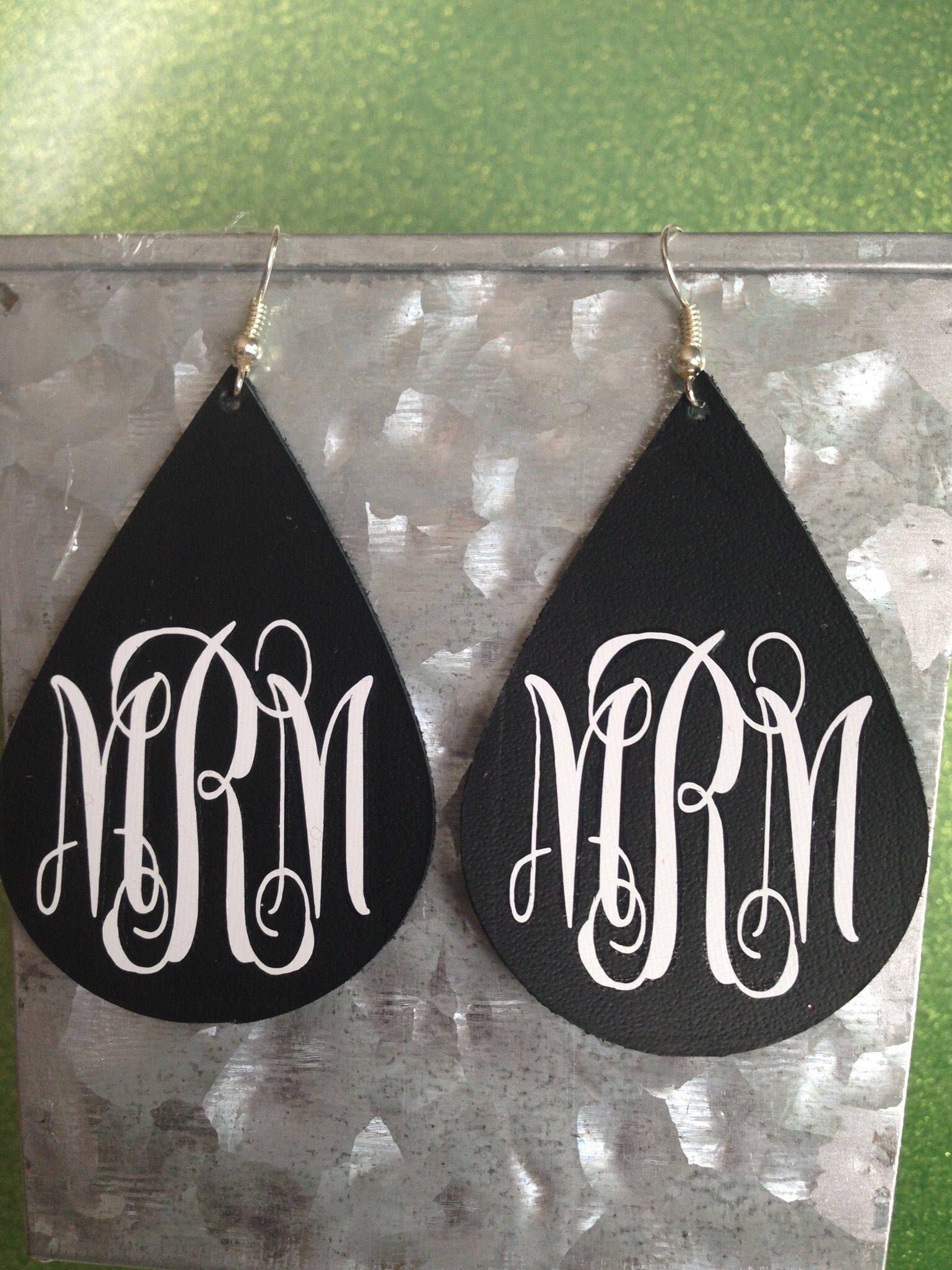 Monogrammed Leather Teardrop Earrings Etsy Silhouette Jewelry Monogram Earrings Etsy Earrings