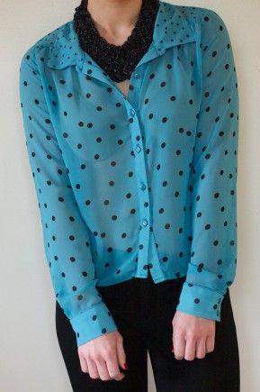 I LOVE this teal & black polka dot sheer blouse! $38