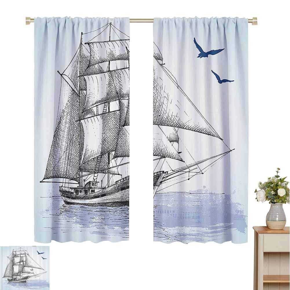 June Gissing Nautical Curtain For Living Room Vector Sketch Sailboat On Sea With Bird Retro Drawing Marin Living Room Vector Blue Curtains Curtains Living Room #vintage #curtains #for #living #room