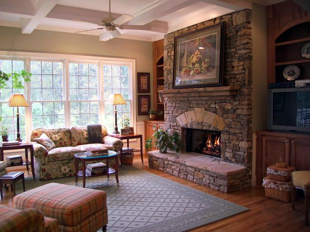 Stone Fireplace Wall Of Windows