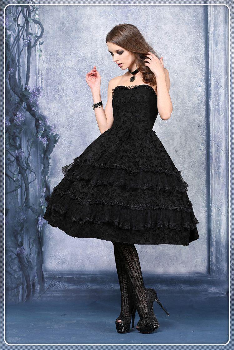 Encontre mais Vestidos Informações sobre Dw037 das mulheres pretas formais vestido lolita reunindo corset vestido não incluindo petticoat, de alta qualidade dresse, Vestidos de recém-nascidos China Fornecedores, Barato vestido floral de DARK IN LOVE em Aliexpress.com