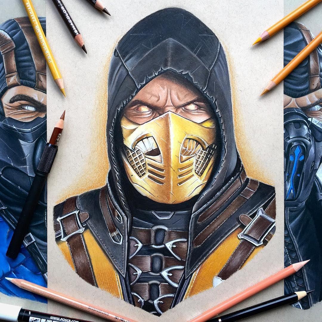 Nice Color Pencil Fan Art Drawing Of Scorpion From Mortal Kombat