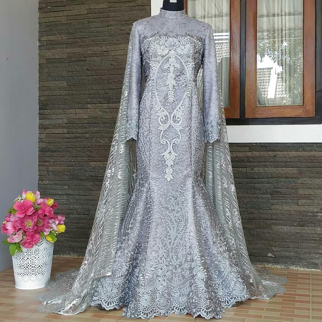 Gaun pengantin muslimah grey a-line terumpet/mermaid dan long cape