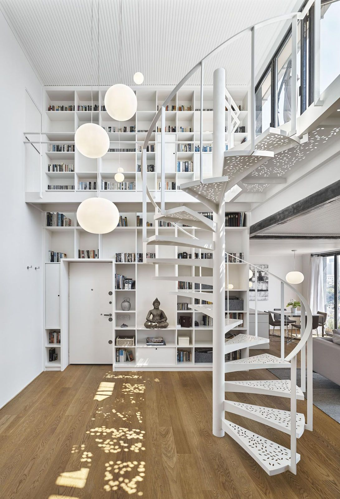 Modern Penthouse Apartment With White Metal Spiral Staircase
