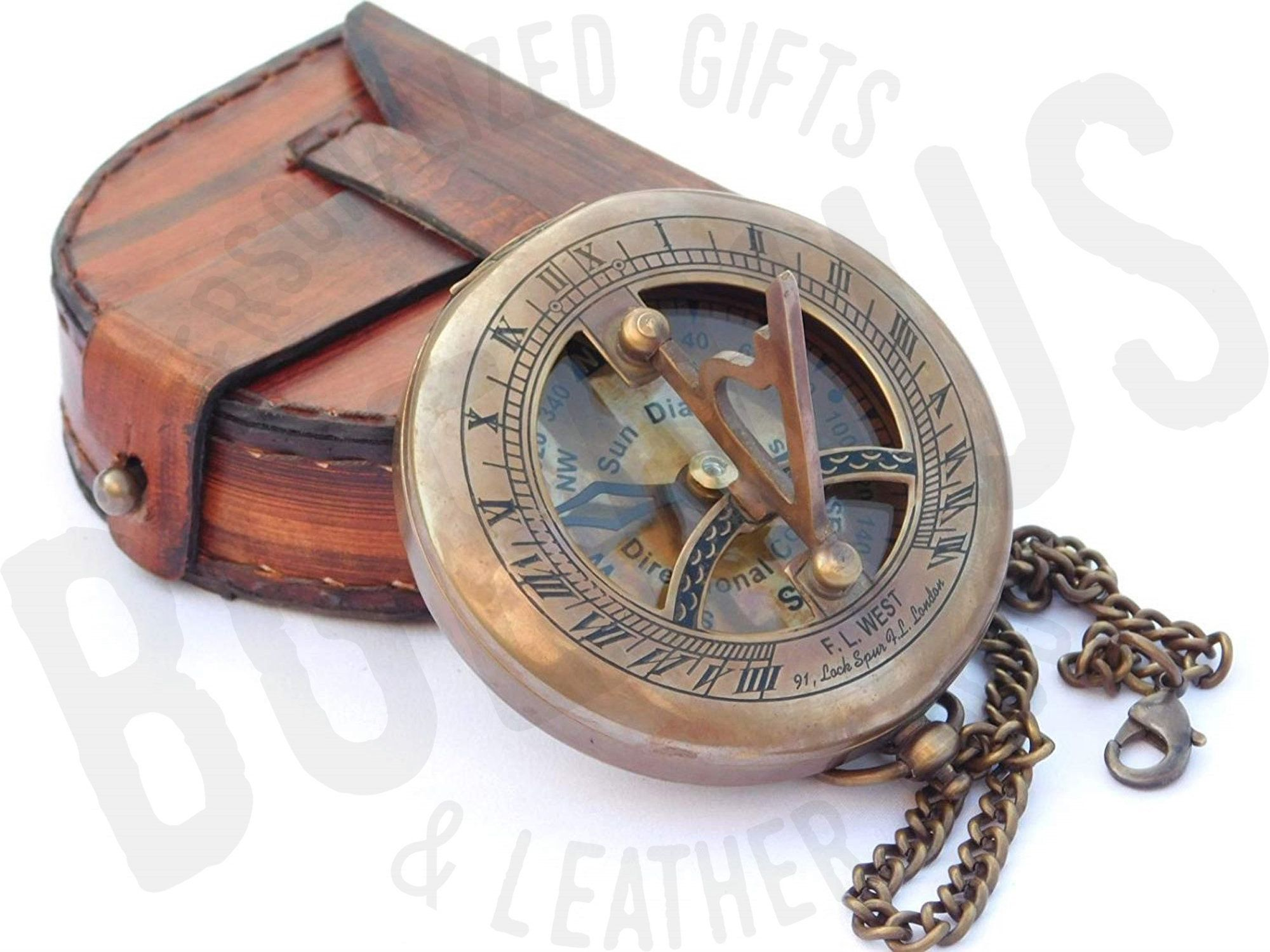 Sundial compass, engraved compass, personalized compass