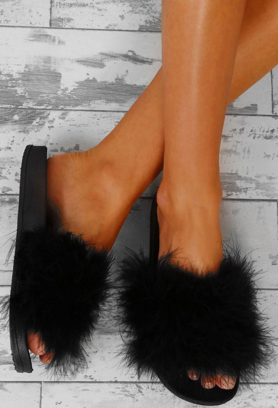 26cd3381aa1c Pretty Hot Black Fluffy Sliders
