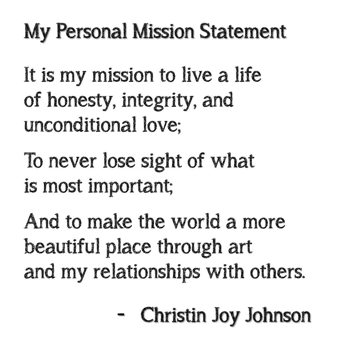 Personal mission statement in life