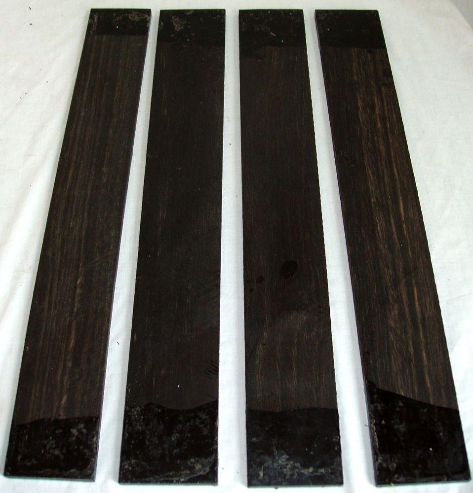 4 Gabon Ebony Wood Guitar Fingerboards 533x76x9mm Luthiers Tonewood Ebony Lumber