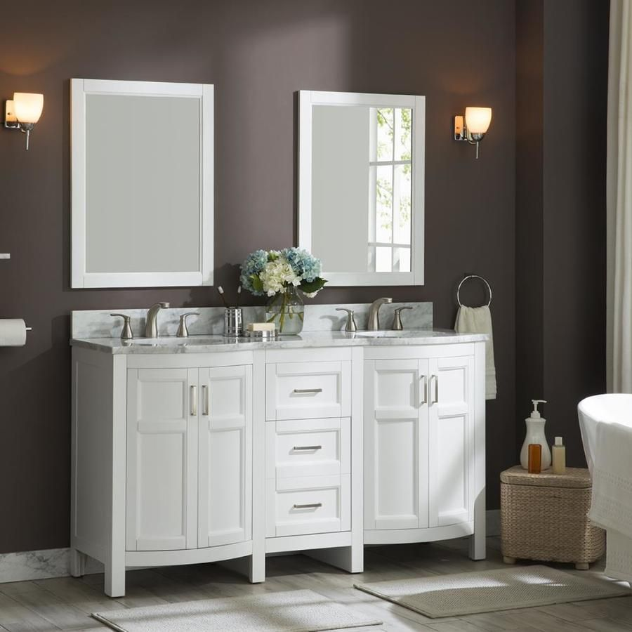 Allen Roth Moravia 60 In White Double Sink Bathroom Vanity With