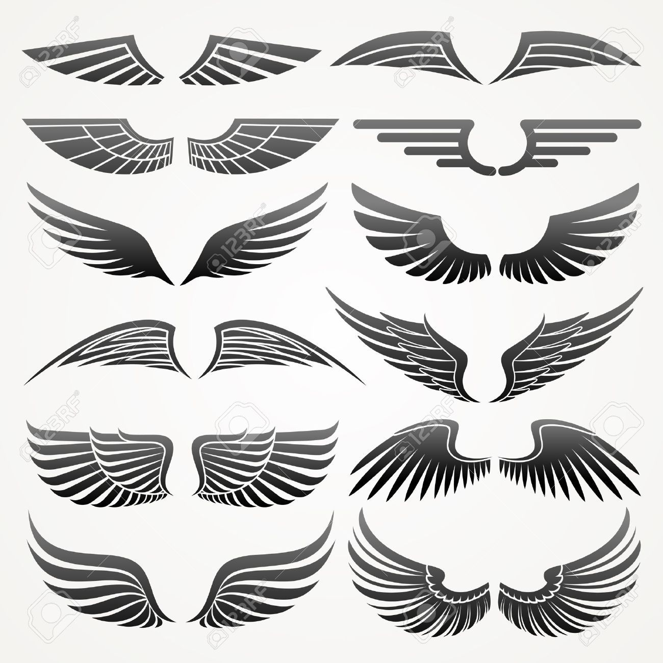 bird wings wings elements for design vector illustration wings pinterest wing wing. Black Bedroom Furniture Sets. Home Design Ideas