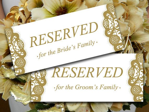 Wedding Reserved Sign Template Antique Gold Shabby Chic Wedding - microsoft word sign template