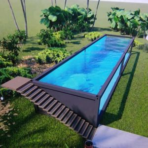 Source shipping container swimming pool on