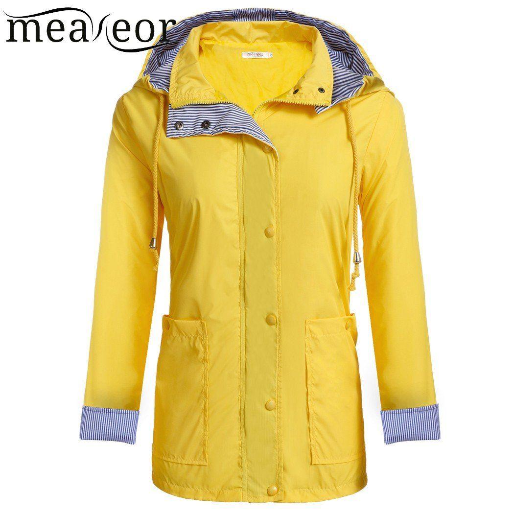 Meaneor Women Casual Waterproof Spring Autumn Raincoat Hooded Trench Coat Adjustable Drawstring Pocket Winter Windbreaker