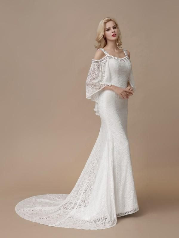 8946a585fd79 Beaded Ivory Modest Lace Mermaid Wedding Dresses with Batwing Sleeves