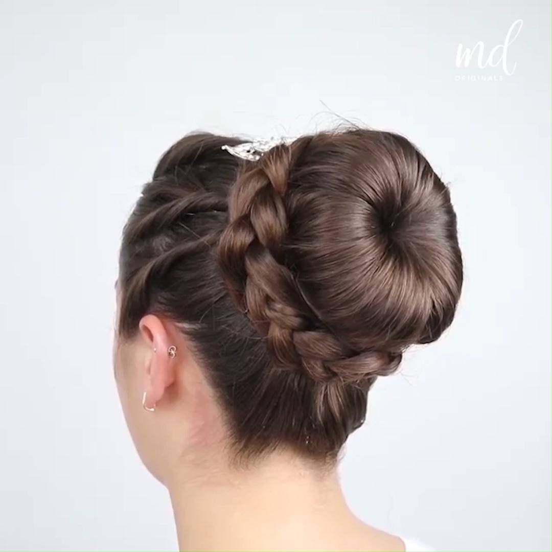braided bun hairstyle tutorial - simple & pretty hairstyle