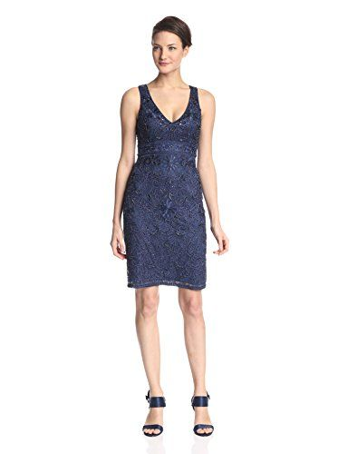 Sue Wong Womens Beaded Sleeveless Tail Dress Navy 0 Http Www