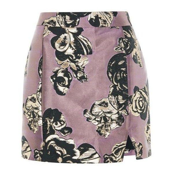 TopShop Petite Jacquard Pelmet Mini Skirt (215 BRL) ❤ liked on Polyvore featuring skirts, mini skirts, short floral skirt, topshop skirts, iridescent skirt, front slit skirt and floral jacquard skirt
