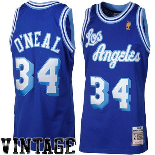 Mitchell   Ness Shaquille O Neal Los Angeles Lakers 1996-1997 Hardwood  Classics Throwback Authentic Jersey - Royal Blue 2efb3ebab