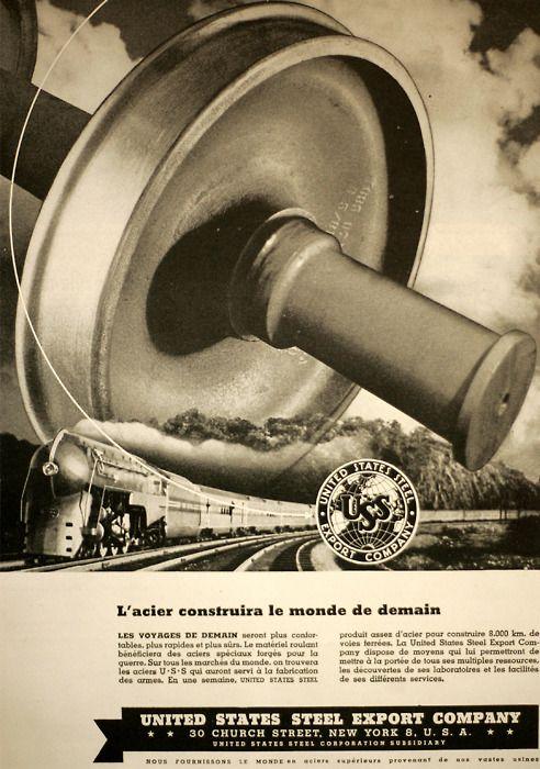Anúncio da United States Steel na revista francesa Vitória de 1944!!!