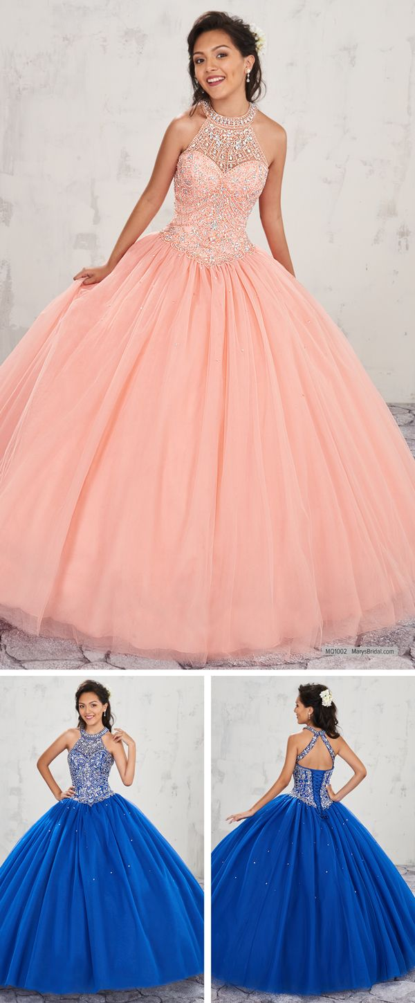 MQ1002 Halter tulle quinceanera ball gown with beaded bodice, basque ...