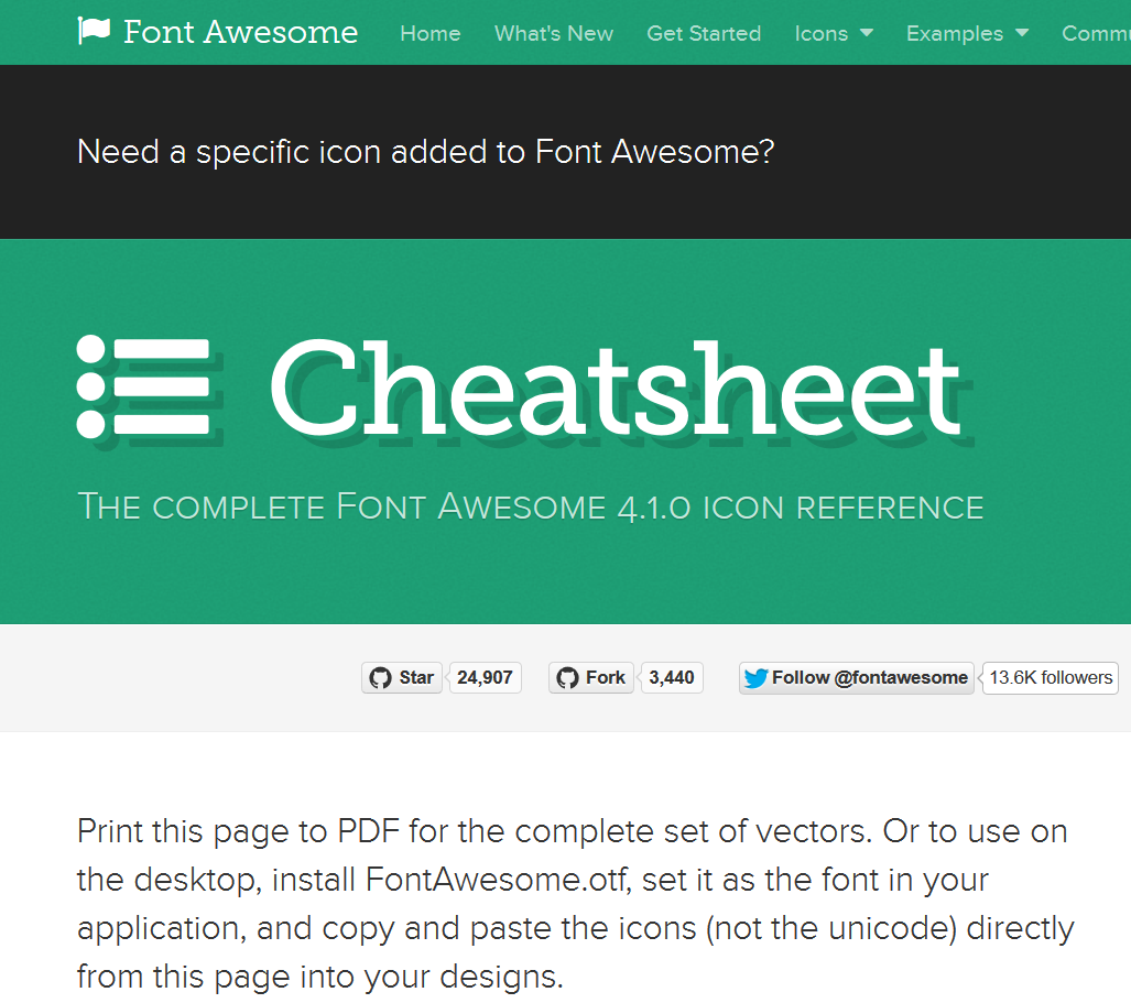Font Awesome Cheatsheet list of all the available icons