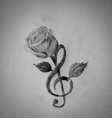 Treble Clef And Rose Tattoos Pinte