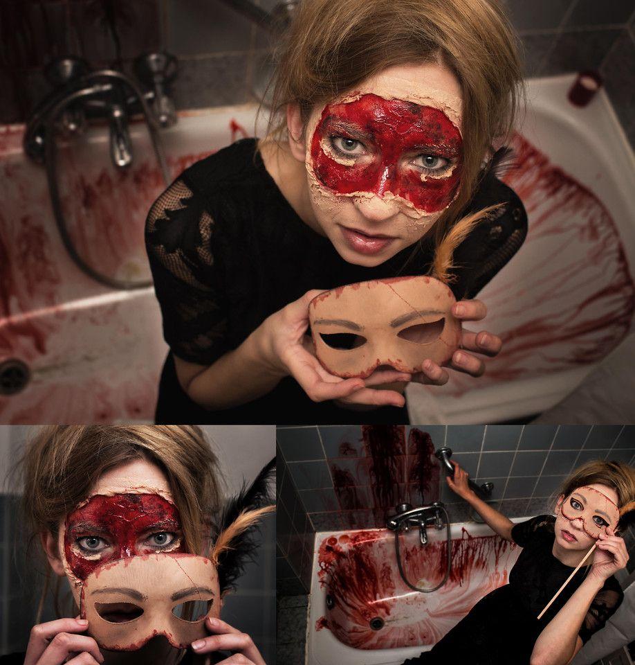 creepy Halloween make up - flesh mask - bloody - face - costume ...