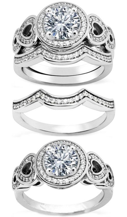 Engagement & The City | Diamond Engagement Ring Double Open Hearts & Wrap...