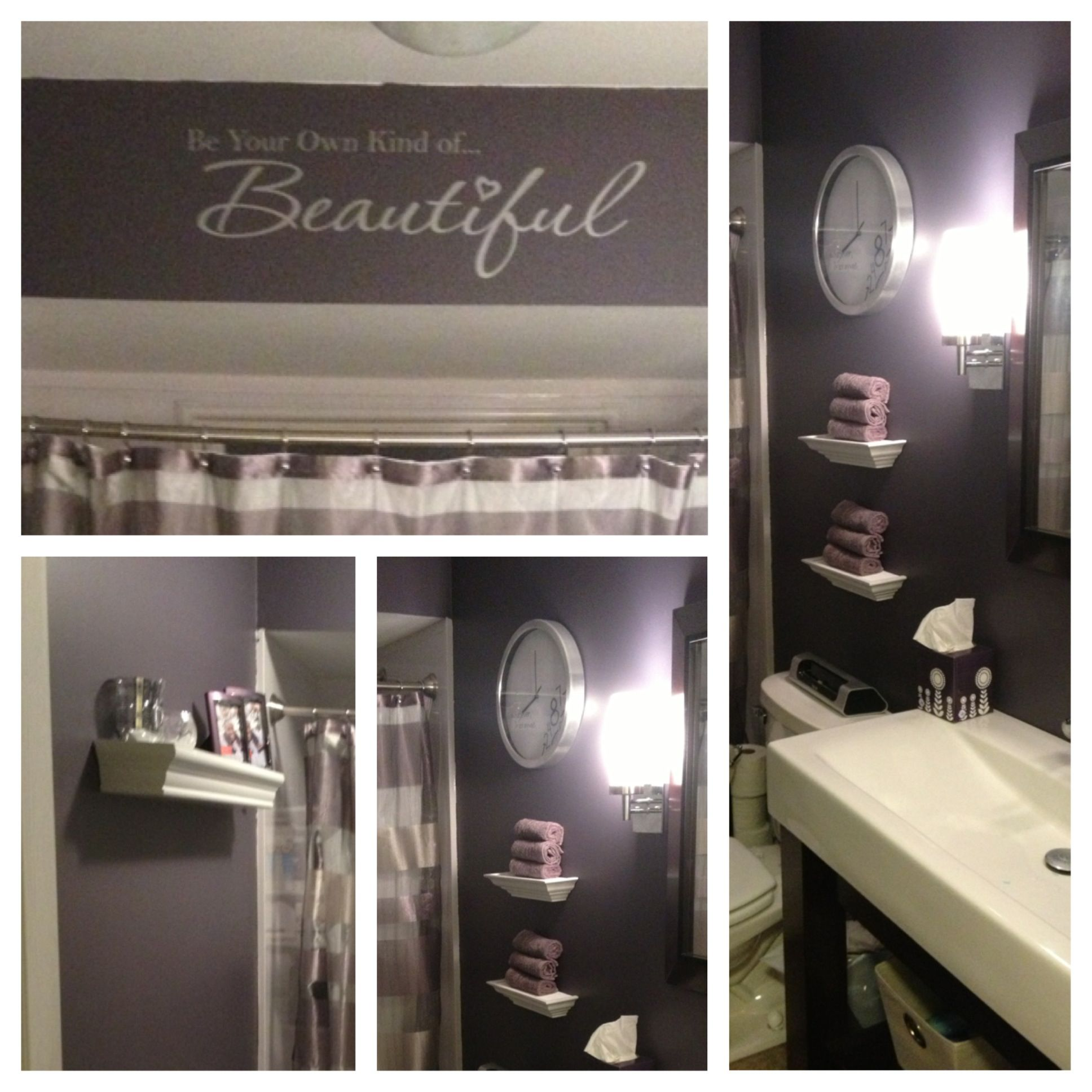 Love my purple and silver bathroom!
