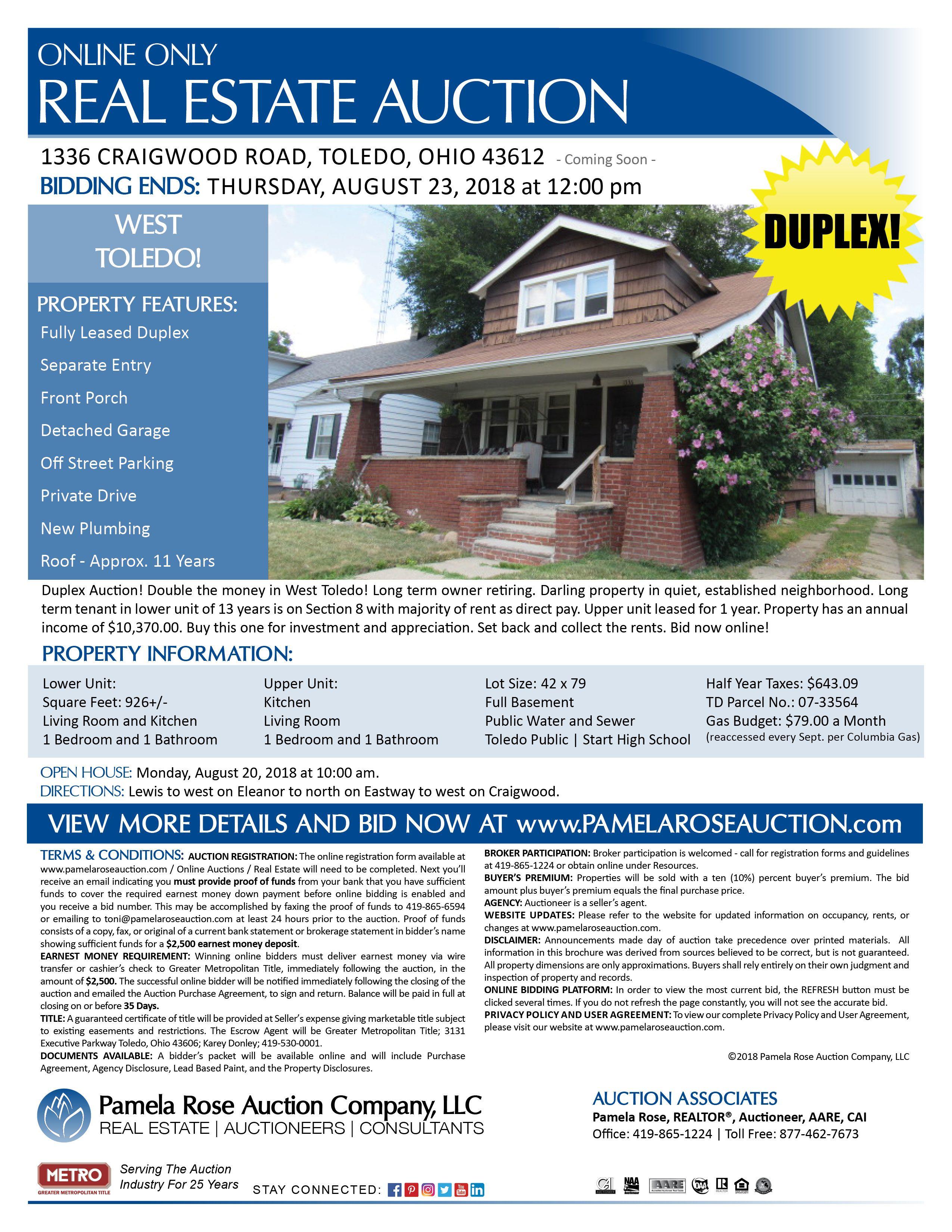 Duplex in West Toledo – Online Auction at 1336 Craigwood