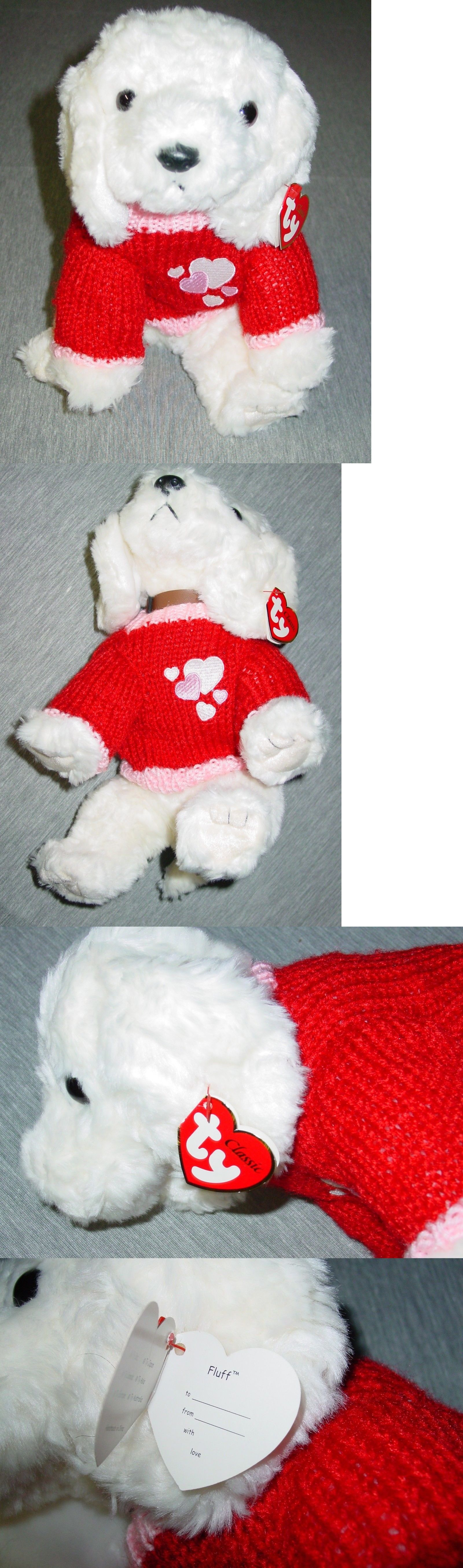 e193c5e0409 Retired 1636  Ty Classic 13 Plush Fluff The White Dog With Red Valentines  Sweater -  BUY IT NOW ONLY   39 on  eBay  retired  classic  plush  fluff   white ...