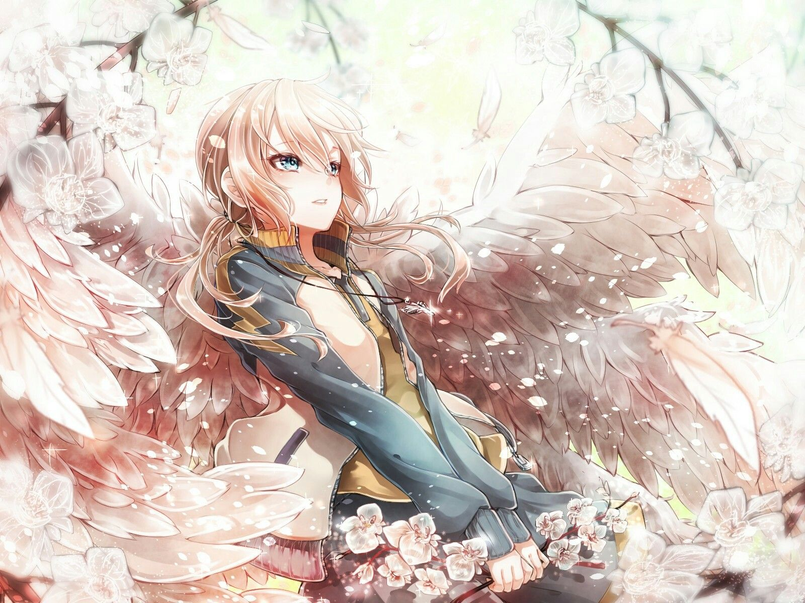 Anime girl with wings niceee picturee♡♡