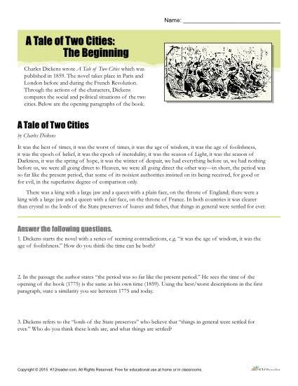 How To Start A Scholarship Essay This Activity Provides An Excerpt From A Tale Of Two Cities For Students To  Read Followed By Questions About The Passage For Students To Answer Click  Here Sample Discussion Essay also Narrative Essay Example College A Tale Of Two Cities Reading Comprehension Worksheet  Reading  Sample Essay In Apa Format