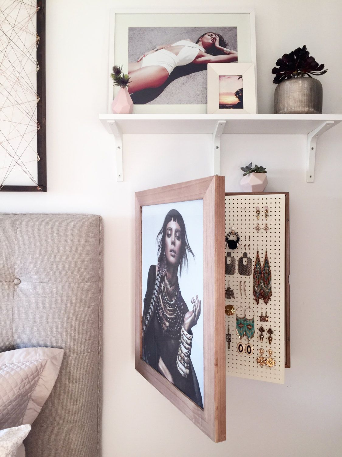 Wall Mounted Jewelry Organizer Photo Frame by bleachla on Etsy https