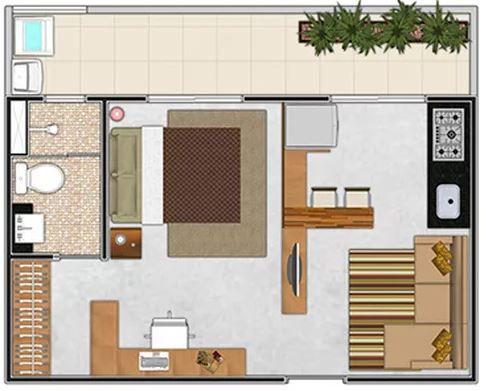 Planos de casas modernas de 1 dormitorio deptos de 30 for Decoracion monoambientes 30 mts