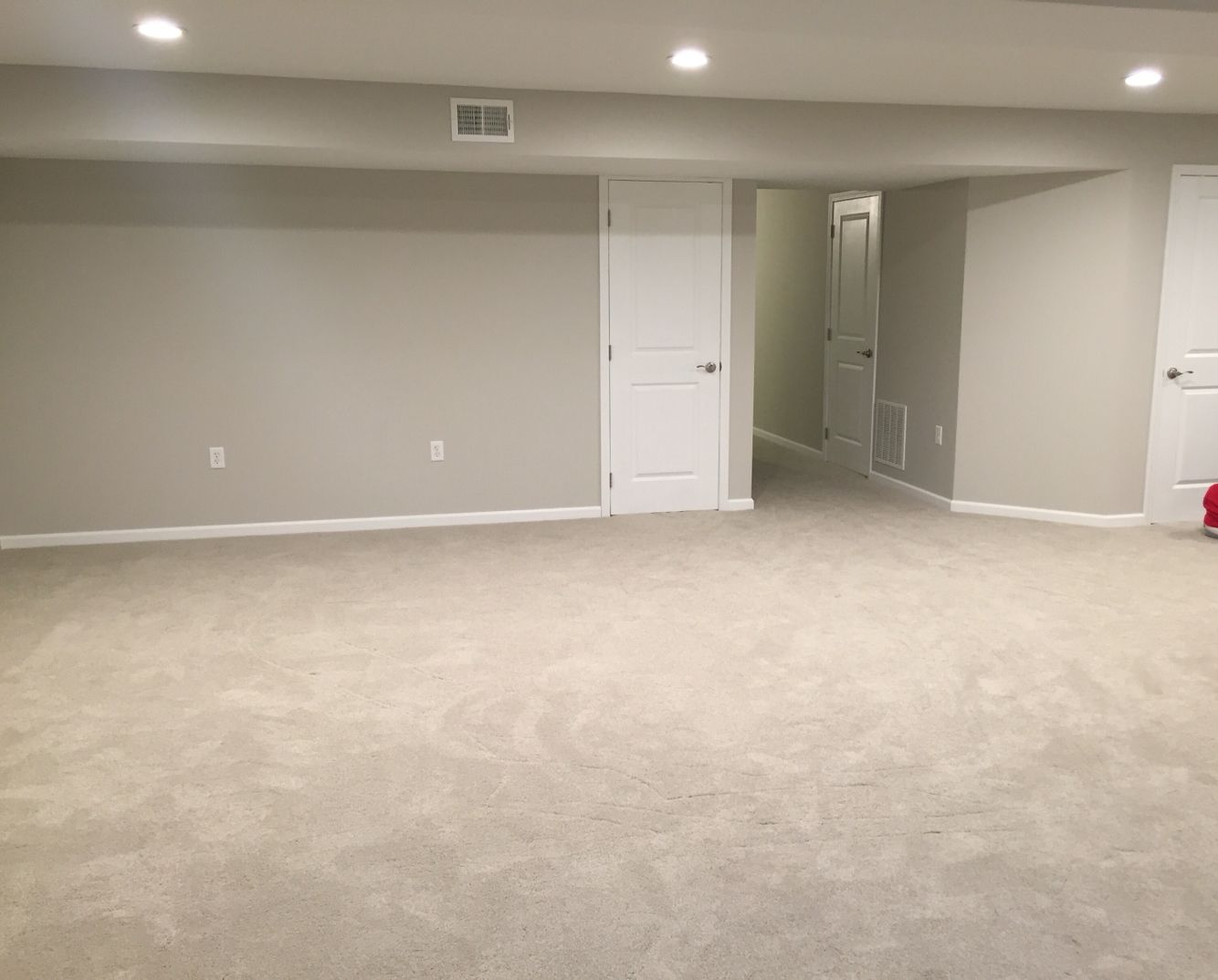 Finished basement remodel project walls painted with for Good carpet for basement floors