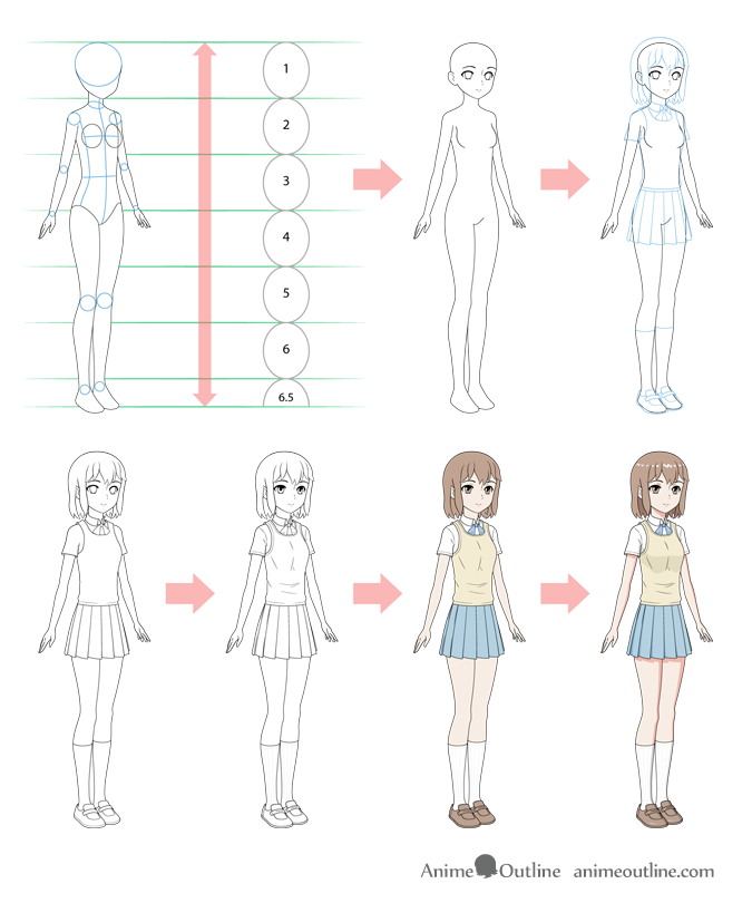 How To Draw An Anime School Girl In 6 Steps Animeoutline Anime School Girl Manga Girl Drawing Step By Step Drawing