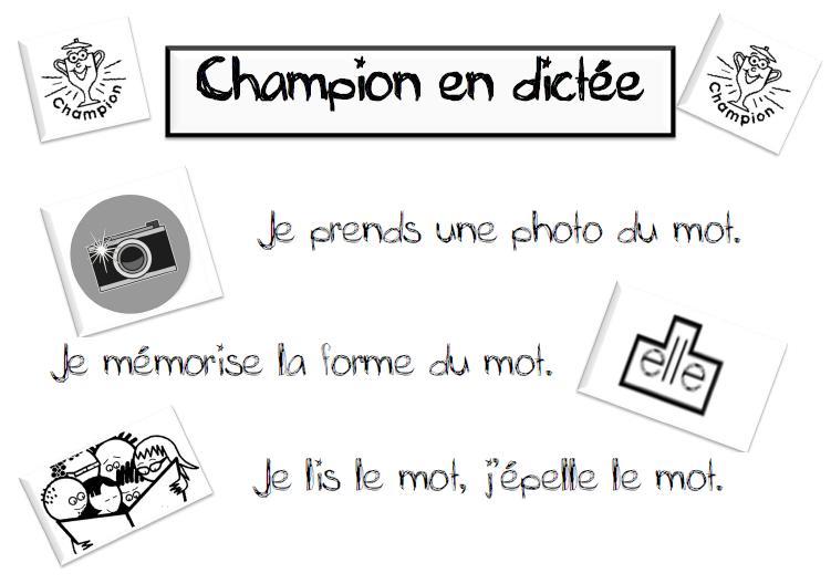 Champion En Dictee Dictee Ce2 Vocabulaire Francais Ce1 Ce2