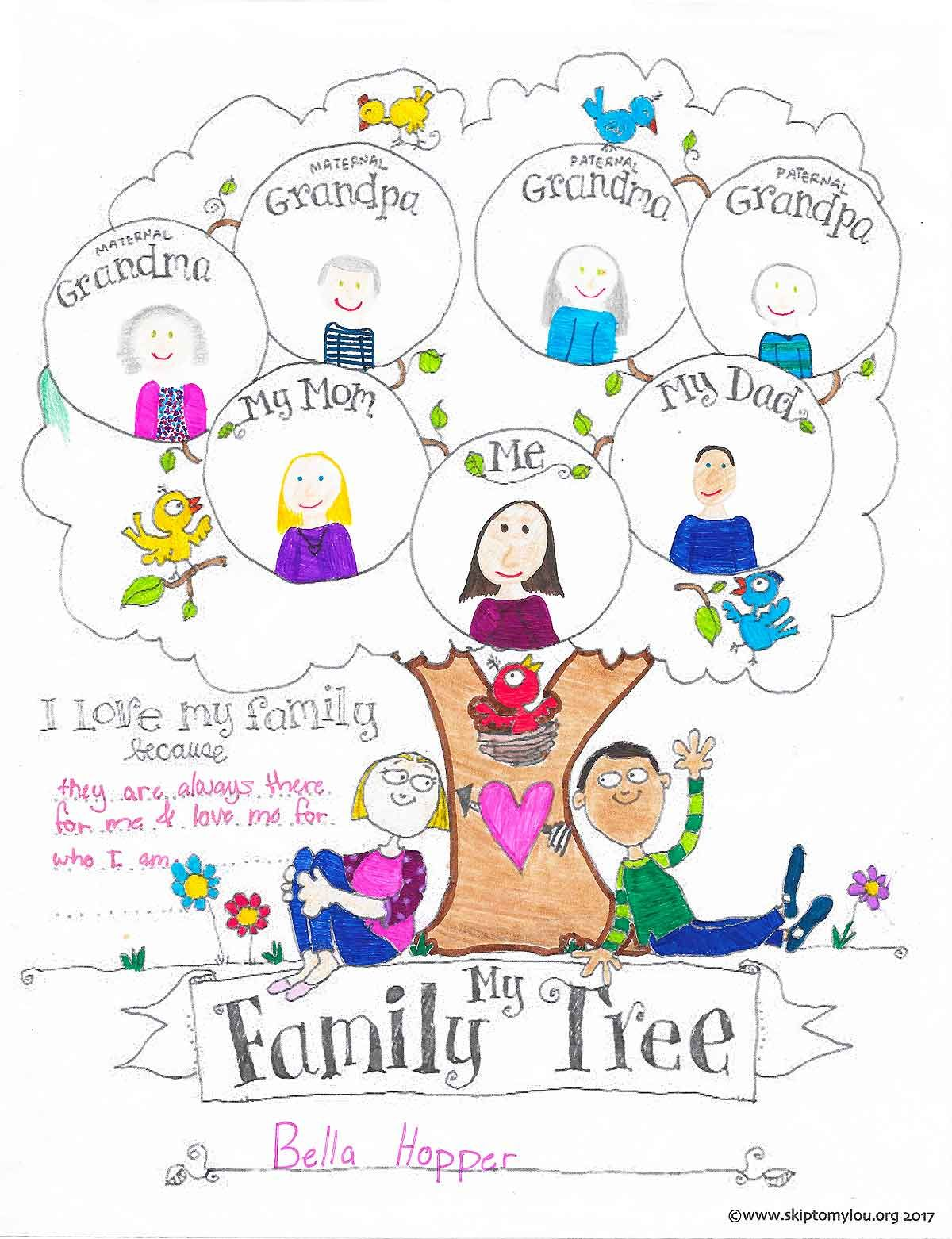 Free Printable Family Tree Chart Coloring Sheet. A fun