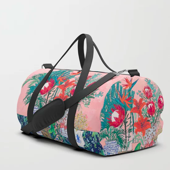 """""""The Domesticated Jungle - Floral Still Life"""" Duffle Bag by Lara Lee Meintjes on… 