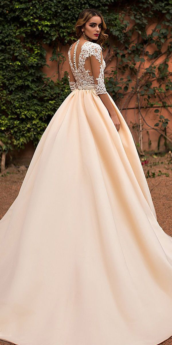 24 Lace Ball Gown Wedding Dresses You Love With Three Quote Sleeves Tatto Effect Back Blush Satin Skirt Lorenzo Rossi