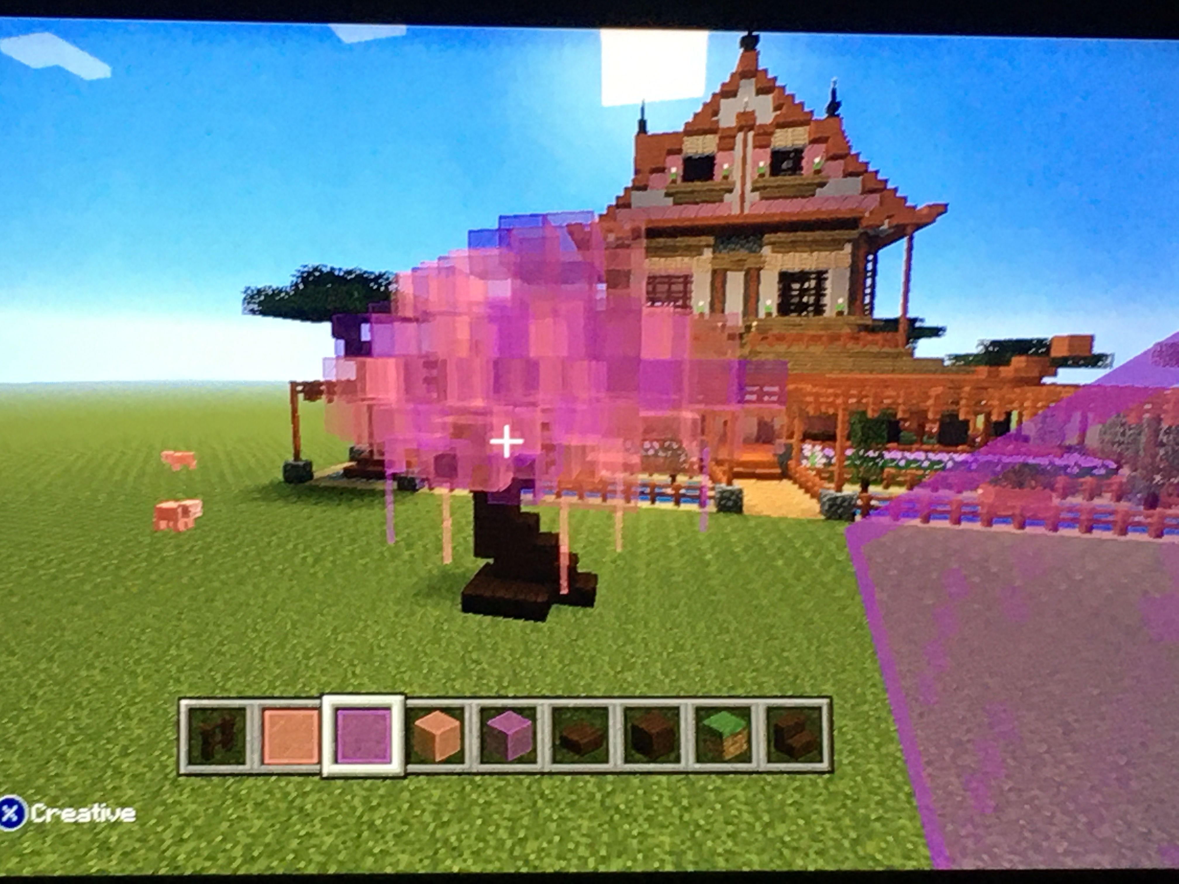 Cherry Blossom With Japanese House In Background Minecraft Tree Minecraft Decorations Minecraft Cottage