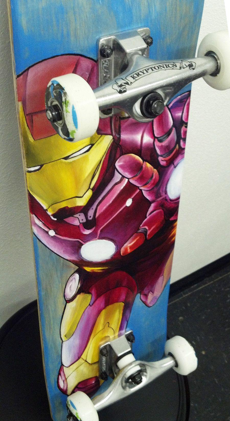 Iron Man Painting Oil Paint On Skateboard Deck Skateboard Art Iron Man Painting Trap Art