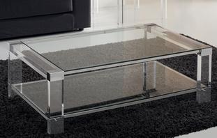 Tables Basse Rectangulaire 2 Plateaux En Verre Structure En Altuglas Et Metal Sur Mesure Table Basse Rectangulaire Table Basse Table
