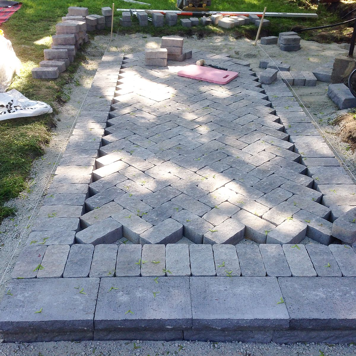 Ramblingrenovators.ca | How To Build A Walkway With Pavers, Herringbone  Walkway