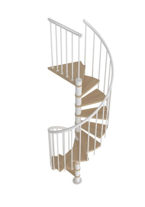 Best Dolle Montreal White Spiral Stair Kit 1200Mm Oak 400 x 300