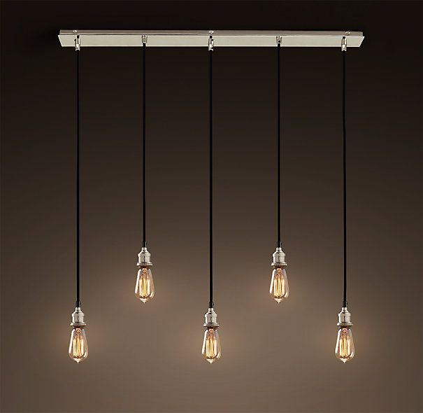 20th C Factory Filament Bare Bulb Rectangular 5 Cord Pendant Polished Nickel 379