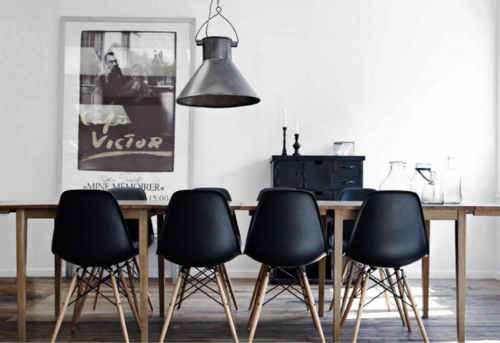 Black Eames Style Dining With Rustic Wood Table Ideias Para